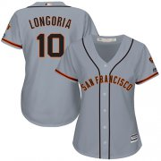 Wholesale Cheap Giants #10 Evan Longoria Grey Road Women's Stitched MLB Jersey