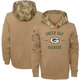 Wholesale Cheap Youth Green Bay Packers Nike Khaki 2019 Salute to Service Therma Pullover Hoodie