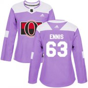 Wholesale Cheap Adidas Senators #63 Tyler Ennis Purple Authentic Fights Cancer Women's Stitched NHL Jersey