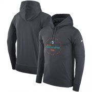 Wholesale Cheap Men's Miami Dolphins Nike Charcoal Sideline Property Of Wordmark Logo Performance Pullover Hoodie
