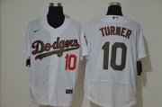 Wholesale Cheap Men's Los Angeles Dodgers #10 Justin Turner White With Green Name Stitched MLB Flex Base Nike Jersey