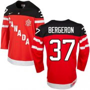 Wholesale Cheap Olympic CA. #37 Patrice Bergeron Red 100th Anniversary Stitched NHL Jersey