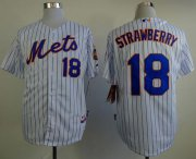 Wholesale Cheap Mets #18 Darryl Strawberry White(Blue Strip) Home Cool Base Stitched MLB Jersey