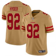 Wholesale Cheap Nike 49ers #92 Kerry Hyder Gold Men's Stitched NFL Limited Inverted Legend Jersey