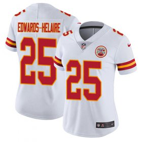 Wholesale Cheap Nike Chiefs #25 Clyde Edwards-Helaire White Women\'s Stitched NFL Vapor Untouchable Limited Jersey