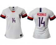 Wholesale Cheap Women's USA #14 Mcdonald Home Soccer Country Jersey
