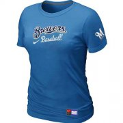 Wholesale Cheap Women's Milwaukee Brewers Nike Short Sleeve Practice MLB T-Shirt Indigo Blue