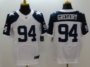 Wholesale Nike Cowboys #94 Randy Gregory White Thanksgiving Throwback Men's Stitched NFL Elite Jersey