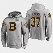 Wholesale Cheap Bruins #37 Patrice Bergeron Gray 2018 Winter Classic Fanatics Primary Logo Hoodie