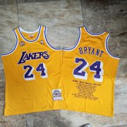 Wholesale Cheap Men's Los Angeles Lakers #24 Kobe Bryant 2007-08 Yellow honors Edition Hardwood Classics Soul AU Throwback Jersey