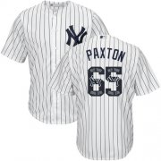 Wholesale Cheap Yankees #65 James Paxton White Strip Team Logo Fashion Stitched MLB Jersey