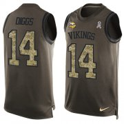 Wholesale Cheap Nike Vikings #14 Stefon Diggs Green Men's Stitched NFL Limited Salute To Service Tank Top Jersey