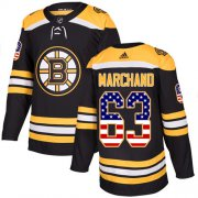 Wholesale Cheap Adidas Bruins #63 Brad Marchand Black Home Authentic USA Flag Youth Stitched NHL Jersey