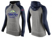 Wholesale Cheap Women's Nike Los Angeles Chargers Performance Hoodie Grey & Dark Blue
