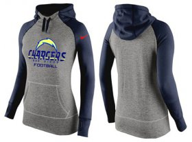 Wholesale Cheap Women\'s Nike Los Angeles Chargers Performance Hoodie Grey & Dark Blue