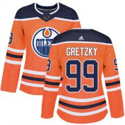 Wholesale Cheap Adidas Oilers #99 Wayne Gretzky Orange Home Authentic Women's Stitched NHL Jersey