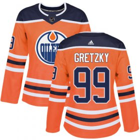 Wholesale Cheap Adidas Oilers #99 Wayne Gretzky Orange Home Authentic Women\'s Stitched NHL Jersey