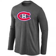 Wholesale Cheap NHL Montreal Canadiens Big & Tall Logo Long Sleeve T-Shirt Dark Grey