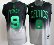 Wholesale Cheap Boston Celtics #9 Rajon Rondo Black/Gray Fadeaway Fashion Jersey