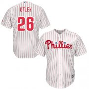 Wholesale Cheap Phillies #26 Chase Utley Stitched White Red Strip Youth MLB Jersey