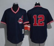Wholesale Cheap Mitchell And Ness Indians #12 Francisco Lindor Navy Blue Throwback Stitched MLB Jersey