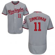 Wholesale Cheap Nationals #11 Ryan Zimmerman Grey Flexbase Authentic Collection Stitched MLB Jersey