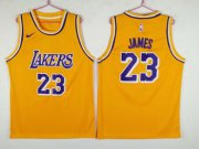 Wholesale Cheap Men's Los Angeles Lakers 23 Lebron James Yellow Nike Swingman Jersey