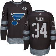 Wholesale Cheap Adidas Blues #34 Jake Allen Black 1917-2017 100th Anniversary Stitched NHL Jersey