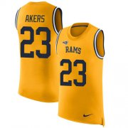 Wholesale Cheap Nike Rams #23 Cam Akers Gold Men's Stitched NFL Limited Rush Tank Top Jersey