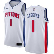 Wholesale Cheap Nike Pistons #1 Reggie Jackson White NBA Swingman Association Edition Jersey