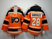 Wholesale Flyers #28 Claude Giroux Orange Sawyer Hooded Sweatshirt Stitched Youth NHL Jersey