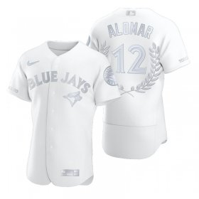 Wholesale Cheap Toronto Blue Jays #12 Roberto Alomar Men\'s Nike Platinum MLB MVP Limited Player Edition Jersey