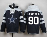 Wholesale Cheap Nike Cowboys #90 Demarcus Lawrence Navy Blue Player Pullover NFL Hoodie