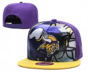 Wholesale Cheap Vikings Team Logo Purple Yellow Adjustable Leather Hat TX