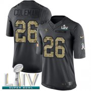 Wholesale Cheap Nike 49ers #26 Tevin Coleman Black Super Bowl LIV 2020 Men's Stitched NFL Limited 2016 Salute to Service Jersey