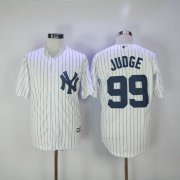 Wholesale Cheap Yankees #99 Aaron Judge White Strip New Cool Base Stitched MLB Jersey