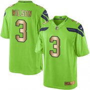 Wholesale Cheap Nike Seahawks #3 Russell Wilson Green Men's Stitched NFL Limited Gold Rush Jersey