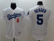 Wholesale Cheap Dodgers #5 Corey Seager White Flexbase Authentic Collection Stitched MLB Jersey