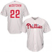 Wholesale Cheap Phillies #22 Andrew McCutchen White(Red Strip) Cool Base Stitched Youth MLB Jersey