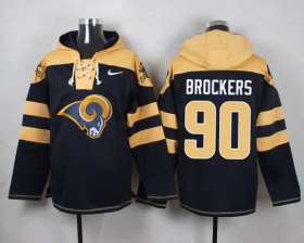Wholesale Cheap Nike Rams #90 Michael Brockers Navy Blue Player Pullover NFL Hoodie