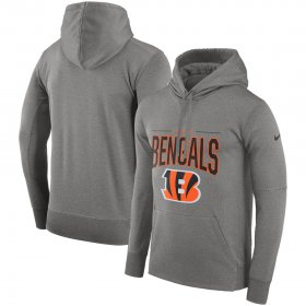 Wholesale Cheap Cincinnati Bengals Nike Sideline Property of Performance Pullover Hoodie Gray