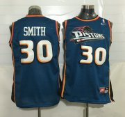 Wholesale Cheap Men's Detroit Pistons #30 Joe Smith Teal Blue Hardwood Classics Soul Swingman Throwback Jersey