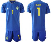 Wholesale Cheap Sweden #1 Olsen Away Soccer Country Jersey