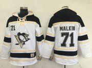 Wholesale Penguins #71 Evgeni Malkin White Sawyer Hooded Sweatshirt Stitched NHL Jersey