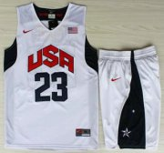 Wholesale Cheap USA Basketball #23 Kyrie Irving White Jersey & Shorts Suit