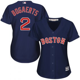 Wholesale Cheap Red Sox #2 Xander Bogaerts Navy Blue Alternate Women\'s Stitched MLB Jersey