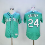 Wholesale Cheap Mariners #24 Ken Griffey Green Flexbase Authentic Collection 2016 Hall Of Fame Patch Stitched MLB Jersey