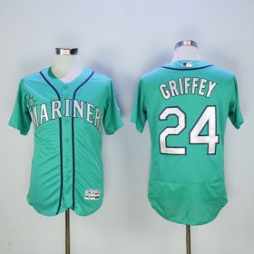 Wholesale Mariners #24 Ken Griffey Green Flexbase Authentic Collection 2016 Hall Of Fame Patch Stitched Baseball Jersey