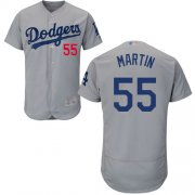 Wholesale Cheap Dodgers #55 Russell Martin Grey Flexbase Authentic Collection Stitched MLB Jersey