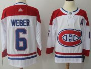 Wholesale Cheap Adidas Canadiens #6 Shea Weber White Road Authentic Stitched NHL Jersey